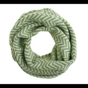 JCREW infinity Scarf - neon green & gray chevron